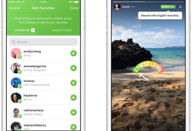 Instagram позволит добавлять друзей в «Избранное»
